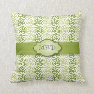 Grün mit einem Band versehenes Muster-Monogramm Kissen