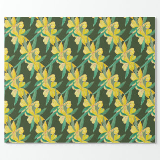 Grün mit gelben Blumen Geschenkpapier