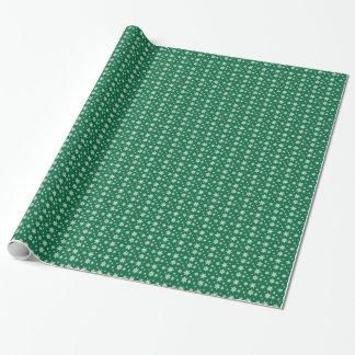 Grün mit weißem Schneeflocke-Packpapier Geschenkpapier