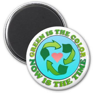 Grün recyceln Planeten Runder Magnet 5,7 Cm