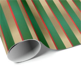 Grün, Rot und Goldweihnachtsstreifen Geschenkpapier