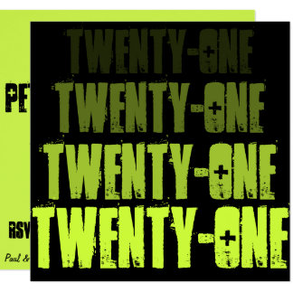 Grün-@ Schwarzes einundzwanzig laden ein Quadratische 13,3 Cm Einladungskarte