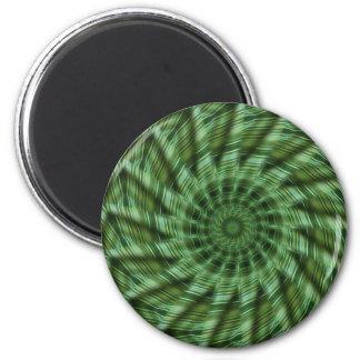 Grün Stripes Kaleidoskop-Kunst 6 Runder Magnet 5,7 Cm