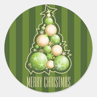 Grün u. Goldblasen-Weihnachtsbaum Runder Aufkleber