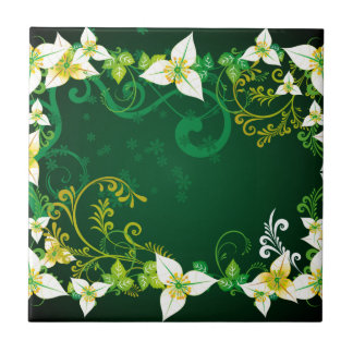 Grün und Blumen Kleine Quadratische Fliese