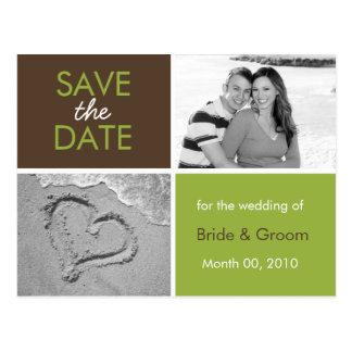 Grün und Foto-Postkarten Browns Save the Date Postkarte