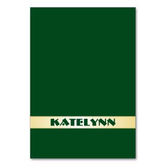Grün und Goldnamensschablonen-Platzkarten Karte