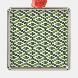 Grün und Kohl der Geometrie 3d Silbernes Ornament