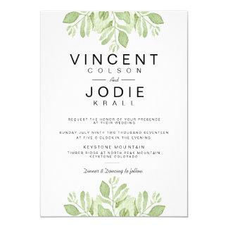 Grün verlässt Duo| Watercolor-Hochzeit einzuladen 12,7 X 17,8 Cm Einladungskarte