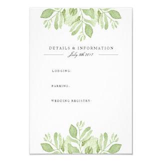 Grün verlässt Duo| Watercolor-Informations-Karte 8,9 X 12,7 Cm Einladungskarte