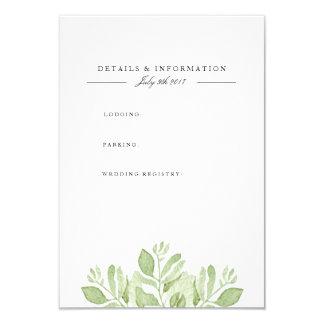 Grün verlässt | Watercolor-Informations-Karte 8,9 X 12,7 Cm Einladungskarte