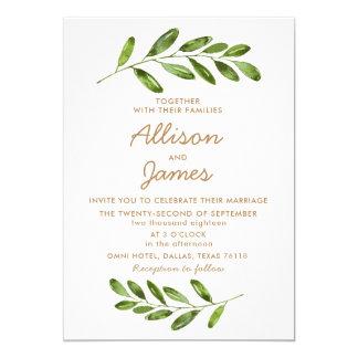 Grün winden Blätter-elegante Hochzeits-Einladung Karte