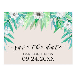 Grünbotanischer Wreath, der Save the Date Wedding Postkarte