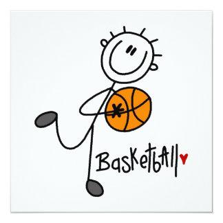 Grundlegende Strichmännchen-Basketball-T - Shirts Quadratische 13,3 Cm Einladungskarte