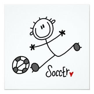 Grundlegende Strichmännchen-Fußball-Spieler-T - Quadratische 13,3 Cm Einladungskarte