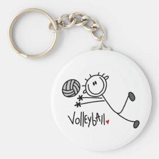 Grundlegender männlicher Strichmännchen-Volleyball Standard Runder Schlüsselanhänger