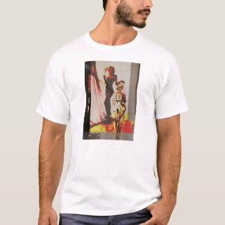 Grundlegender T - Shirt mit Frau und dem Skelett