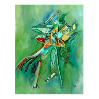 Grüne abstrakte bunte feine Kunst-Karten Postkarte