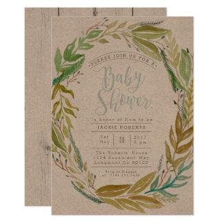 Grüne Aquarell-Babyparty des Garten-  laden ein 12,7 X 17,8 Cm Einladungskarte