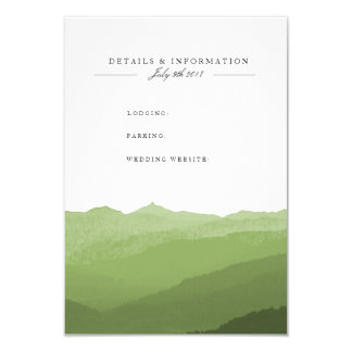 Grüne Aquarell-Gebirgsinformations-Karte 8,9 X 12,7 Cm Einladungskarte