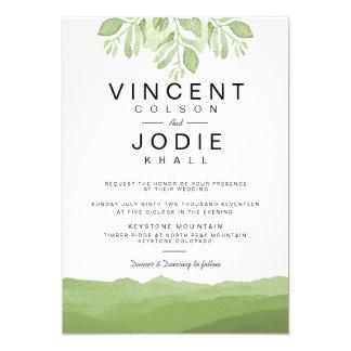 Grüne Aquarell-Hochzeit des Blatt-Berg| laden ein 12,7 X 17,8 Cm Einladungskarte
