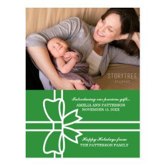 Grüne begabte Feiertags-Foto-Postkarte Postkarte