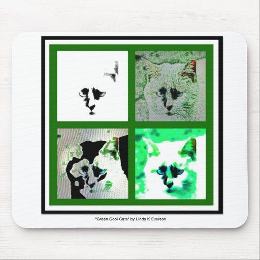 Grüne coole Katzen Mousepads