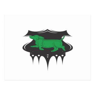 Grüne Dackel Postkarte