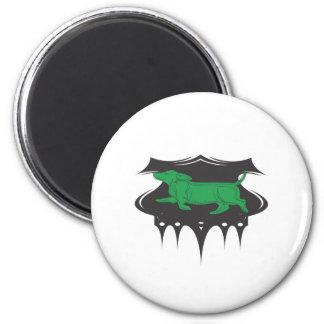Grüne Dackel Runder Magnet 5,7 Cm