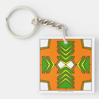 Grüne Dreieck-Schlüsselkette Einseitiger Quadratischer Acryl Schlüsselanhänger