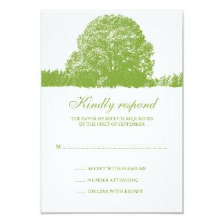 Grüne Eichen-Baum-Hochzeit im Herbsts-Wartekarte 8,9 X 12,7 Cm Einladungskarte