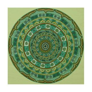 Grüne Fantasie-Mandala Holzleinwand