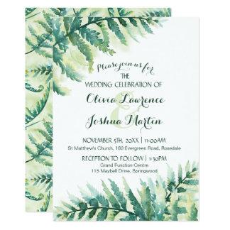 Grüne Farn-Aquarell-Hochzeits-Einladung Karte