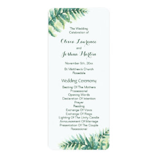 Grüne Farn-Aquarell-Hochzeits-Programme 10,2 X 23,5 Cm Einladungskarte