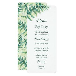 Grüne Farn-Aquarell-Menüs 10,2 X 23,5 Cm Einladungskarte