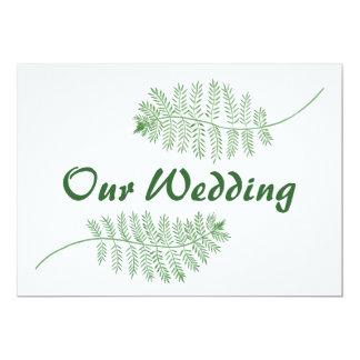 Grüne Farne unsere Hochzeits-doppelseitigen 12,7 X 17,8 Cm Einladungskarte