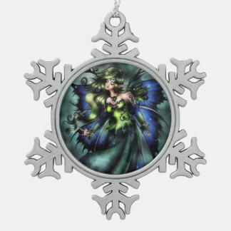 Grüne feenhafte Schneeflocke-Verzierung Schneeflocken Zinn-Ornament