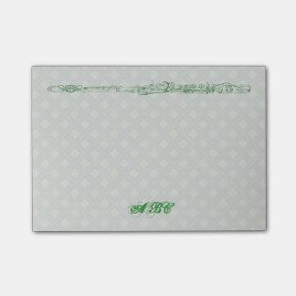 Grüne Flöten-Linie, die kundenspezifisches Post-it Klebezettel