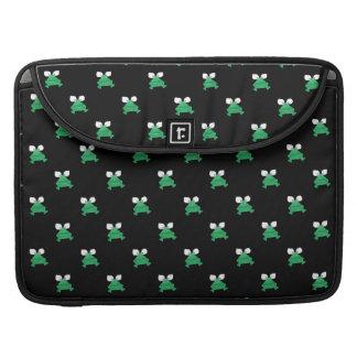 Grüne Frösche auf schwarzer Laptop-Computer Hülse Sleeves Für MacBook Pro