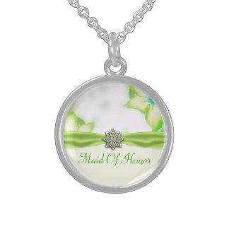 Grüne Frühlings-Blumenwatercolor-Hochzeit Sterling Silberkette