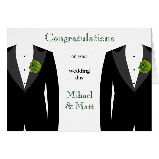 Grüne Gartennelken-homosexuelle Hochzeits-Karte Grußkarte