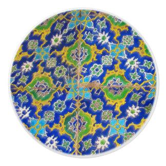 Grüne gelbe antike Iznik Glasur-Fliesen-Osmane-Ära Keramikknauf