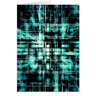 Grüne geometrische Würfel in der Bewegung Karte