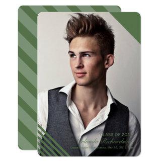 Grüne gestreifte Foto-Abschluss-Mitteilung 2017 12,7 X 17,8 Cm Einladungskarte