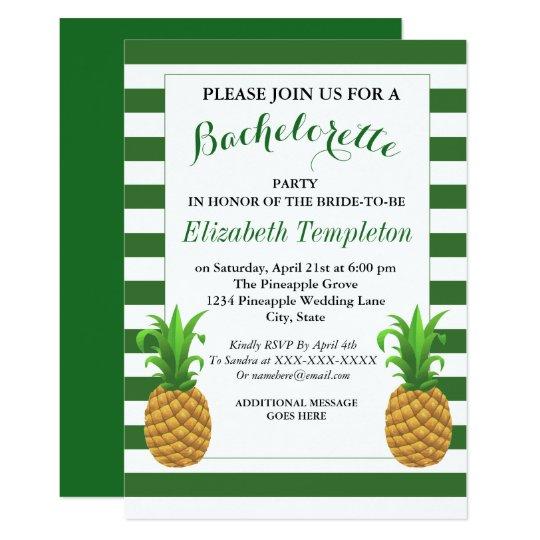 Grüne gestreifte moderne Ananas Bachelorette laden 12,7 X ...