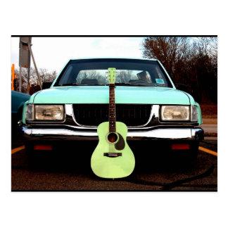 Grüne Gitarre u. Auto Postkarte