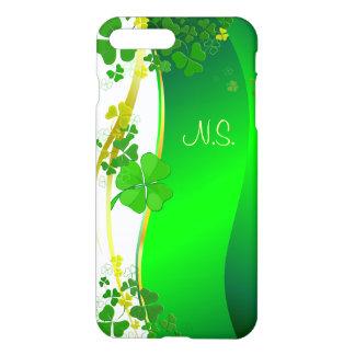 Grüne glückliche Kleeblatt-Imitat-Glitterwelle iPhone 7 Plus Hülle