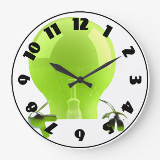 Grüne Glühlampen-Uhr Große Wanduhr
