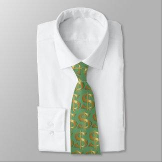 Grüne goldene Dollar-Zeichen-Krawatte Personalisierte Krawatten