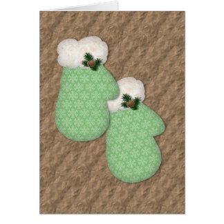 Grüne Handschuh-niedrige Visions-Weihnachtskarte Karte